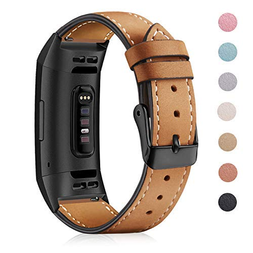 """Mornex für Charge 3 Armband,Echte Leder 3SE Armbänder, Unisex Fitness-Zubehör Ersatzband mit Metall Konnektoren(5,5\""""-8,1\"""") Mattbraun"""