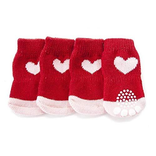 BYFRI Kerstmis Rode Sneeuwvlok Huisdier Hond Puppy Kat Schoenen Slippers Slip Resistant Sokken Met Zolen