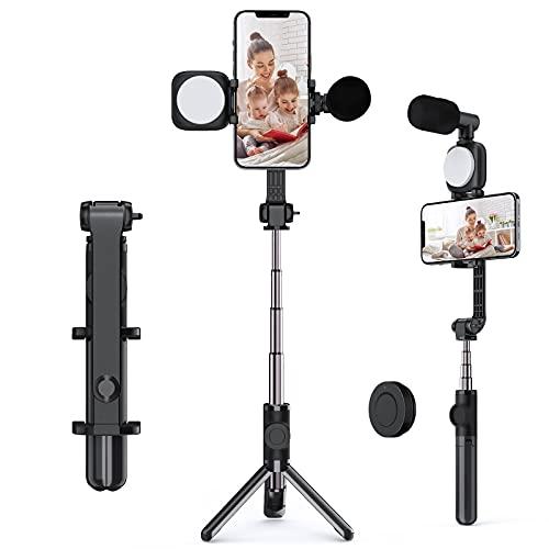 Andoer Palo Selfie Trípode, 3 en 1 Selfie Stick Móvil con Control Remoto Inalámbrico, Monópode Extensible+Mini Luz LED Video 5500K Regulable+Mini Micrófono, Kit de Video para Teléfono Intelige