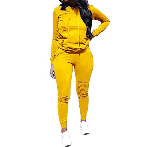 Chic to Max - Conjunto de 2 piezas de chándal para mujer, talla grande, sudadera con capucha y pantalones de jogging