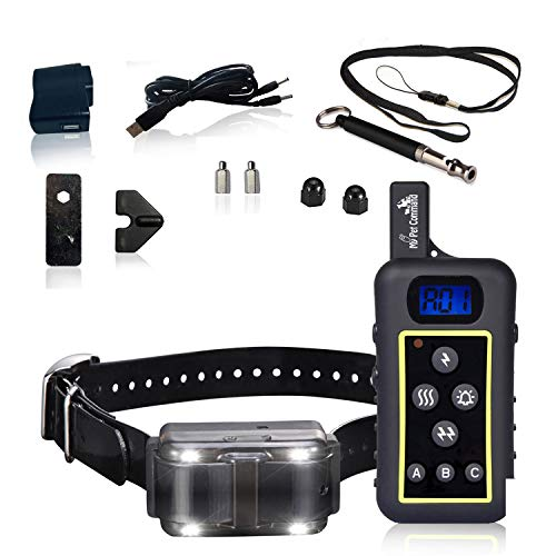 My Pet Command 1.25 Mile (6600 Ft) Dog Training Collar Safe Dog Shock Collar with Remote Shock, Vibrate, Tone and Flashing Beacon Lights Waterproof Rechargeable Dog Hunting add Up to 3 Collars