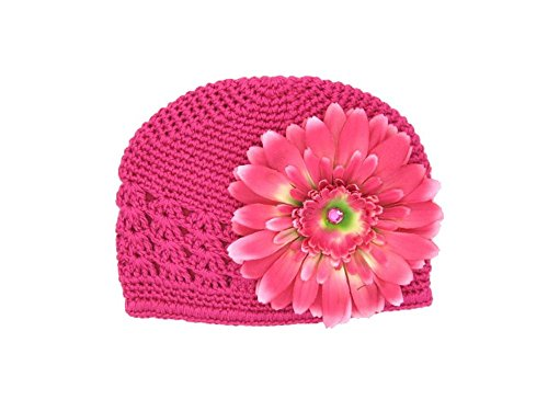 Jamie Rae Hats – Raspberry Crochet Hat with Candy Pink Daisy, Size: 12-18M