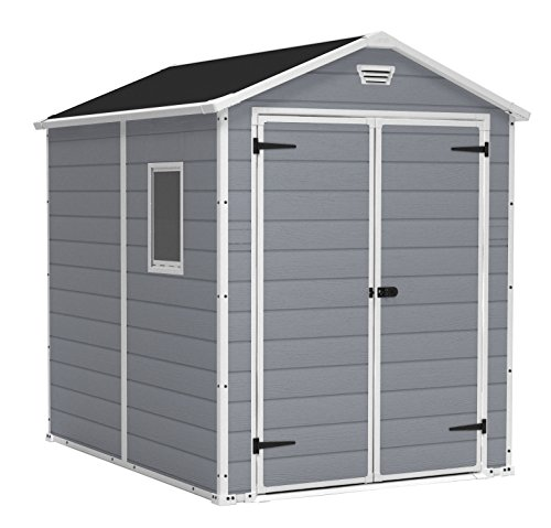 KETER Manor 6x8 Resin Outdoor Storage Shed Kit-Perfect to Store Patio Furniture, Garden Tools Bike Accessories, Beach Chairs and Lawn Mower, Grey & White