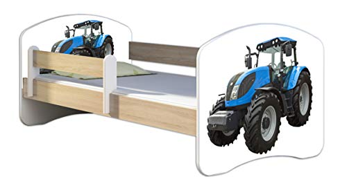 Kinderbett Jugendbett mit einer Schublade und Matratze Sonoma mit Rausfallschutz Lattenrost ACMA II 140x70 160x80 180x80 (42 Traktor, 180x80)