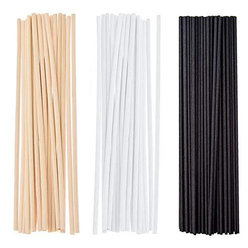 Gativs 150 Piezas Palos de Difusor Reed Diffuser Sticks Palitos para Ambientador Reed Varillas de Reed de Rattan de Madera Varillas Difusor de Aroma 24cm x 3mm, Negro, Blanco, Beige