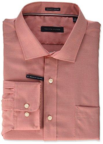 Tommy Hilfiger Men's Dress Shirt Non Iron Regular Fit Oxford Solid, Vintage red, 16.5