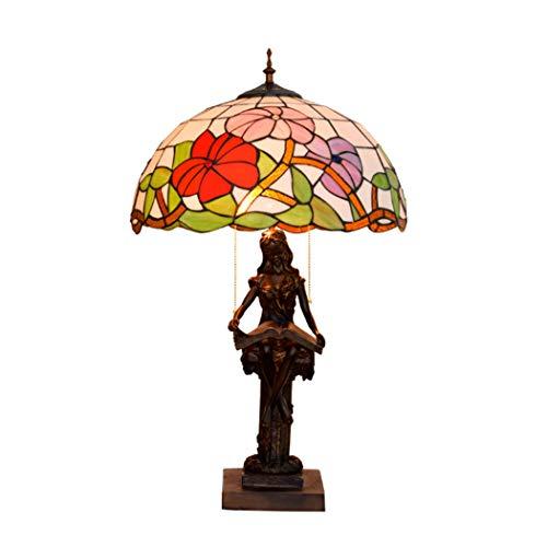 AIBOTY Pastoral estilo Tiffany lámpara de mesa antigua Morning Glory Stained Glass 16 pulgadas Shade Beauty resina de base lámparas de escritorio iluminación para Living Room