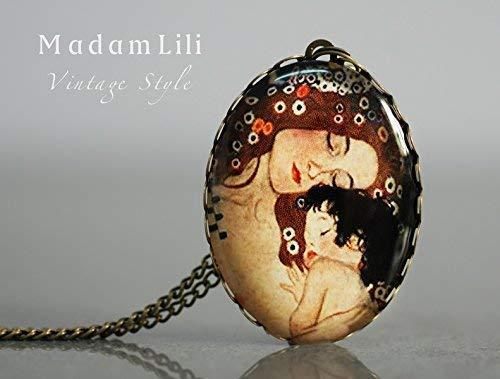 Anhänger MUTTERLIEBE by Klimt - Kette 70cm - Geschenk für Mutter - Exklusive Schmuckschachtel