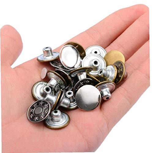 Zonster 50 unids/set botón de metal 5 patrones mezclan jeans botón Metal Hosier botón sin costuras (estilo aleatorio)