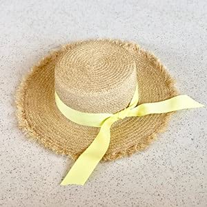 Sombrero de Sol de Verano para Mujer Hecho a Mano, Sombrero de Paja de Playa, Sombrero de Cinta con Lazo Blanco y Negro, Sombreros de Paja Planos de Temperamento al Aire Libre-Yellow Ribbon