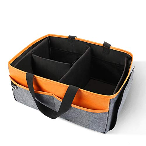 Baby Diaper Caddy Organizer, Collapsible Diaper Felt Basket Portable Car Travel Storage Basket for Wipes Toys Shower Tote Bag