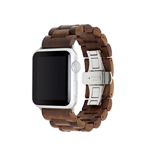 Woodcessories - Strap kompatibel mit Apple Watch Series 1, 2, 3, 4, 5, 6, SE aus Echtholz - EcoStrap (Walnuss/Silber, 42/44 mm)