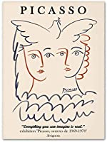 ピカソポスターマチス絵画抽象少女フラワーラインアートポスターとプリントリビングルームの装飾のためのミニマリストの壁アート画像40x60cmフレームなし-6