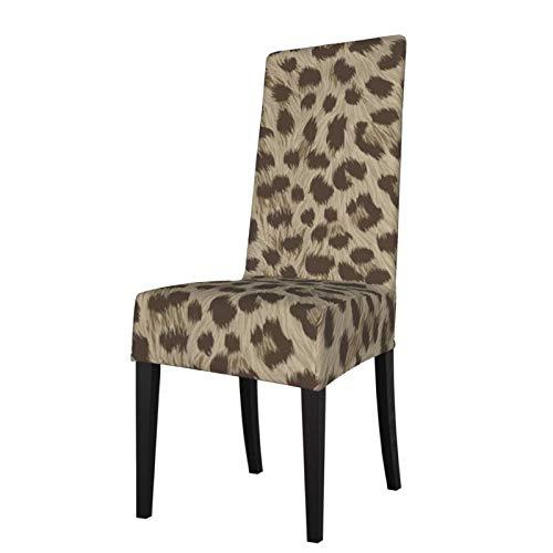 Uliykon Funda elástica para silla de comedor, diseño de piel de animales, color marrón y elastano, elástica, extraíble, lavable, para comedor, hogar, cocina, hotel, ceremonia, fiesta