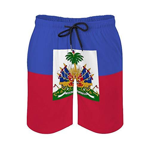 Stazary Haitian Flag Men's Summer Boardshorts Beach Pant with Pocket