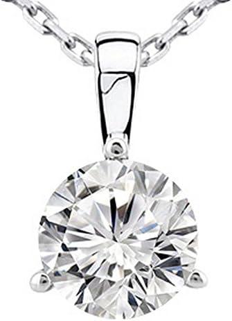 0.5 Carat Round Diamond 3 Prong Solitaire Pendant...