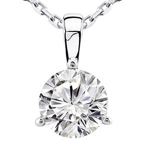 0.5 Carat 14K White Gold Round Diamond 3 Prong Solitaire Pendant Necklace J Color I2 Clarity