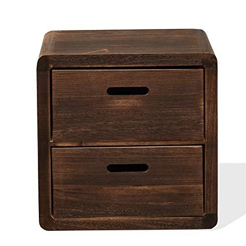 Rebecca Mobili Comodino vintage, cassettiera 2 cassetti in legno di paulownia, colore marrone, arredo casa - Misure: 44,5 x 44 x 35 cm (HxLxP) - Art. RE4148