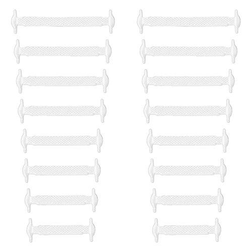 Xunits Elastische Silikon Schnürsenkel weiß, flach Schleifenlose Schuhbänder in 13 (neon) für Kinder & Erwachsene