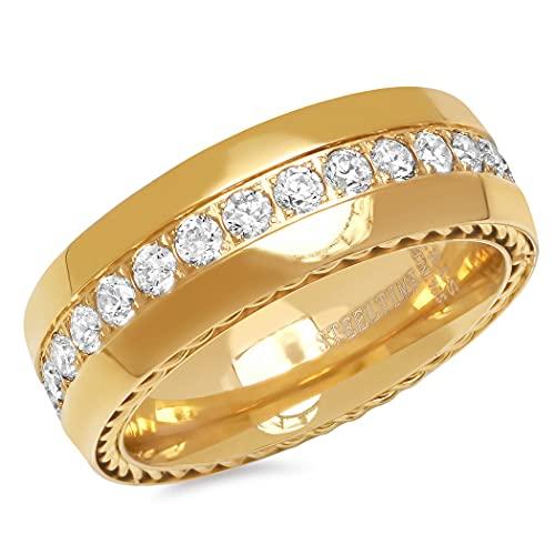 JewelryWeb Hombre acero inoxidable redonda Cubic Zirconia