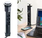 revolt Versenkbare Steckdosen: Versenkbare 3-fach-Tisch-Steckdosenleiste mit 2 USB-Ladeports, Ø 76 mm (Versenkbare Tischsteckdose)