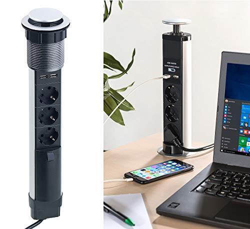 revolt Steckdose: Versenkbare 3-fach-Tisch-Steckdosenleiste mit 2 USB-Ladeports, Ø 76 mm (Tisch-Steckdose)