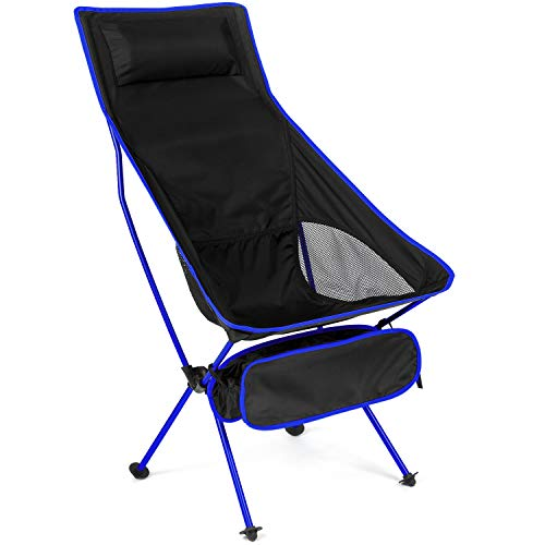 MH Zone Camping Chair with Headrest Backpacking Chair Portable Compact Ultralight Outdoor Folding Hiking Chair with Carry Bag for Outdoor Beach (Dark Blue)