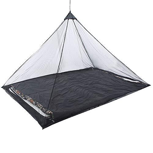 Vlook 2tlg. Campingbett-Moskitonetz, einzelnes Reisenetz, mit Erdnagel, kompakt und leicht, passend für die meisten Schlafsäcke, Kinderbetten und Zelte, schwarz