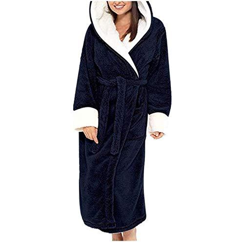 Yiyu Herbst-Winter-Nachtwäsche Frauen-Roben, Damen Bademäntel Mit Kapuze Langarm Robe Nightgown Frauen Homewear Bademantel x (Color : Blue, Size : XXL)
