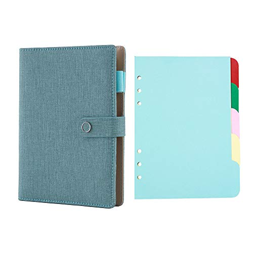 Spiral Leather Journal Writing Notebook, 6 Ring Binder Refillable Diary Notepads, Vintage Business Planner Personal Organizer, 5 Tab Dividers for 6 Ring Binders 1.5 inch Binder Tabs Organizer Colorful