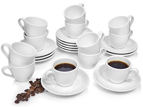 Bluespoon Espressotassen Set 'Leo' aus Porzellan 24 teilig | 12 Tassen und 12 Untertassen | Füllmenge 100 ml | Genießen Sie Ihren wohltuenden Espresso mit diesem dickwandigen Geschirr