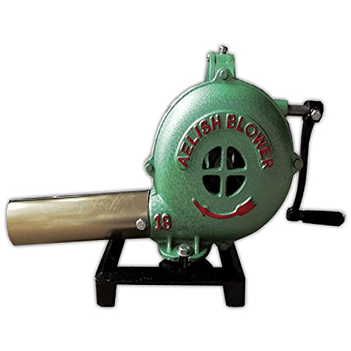 Simond Store Hand Crank Blacksmithing Forge Blower, Cast Aluminum Manual Mini Blower for Farrier Blacksmith Coal Forge Firepot BBQ Outdoor Cooking Camping