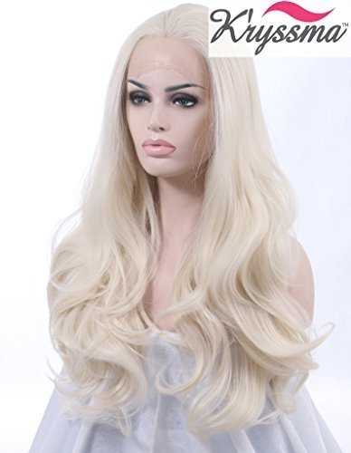 K'ryssma Realistic Wigs for Ladies White #60 Wavy Lace Front Wig Synthetic...