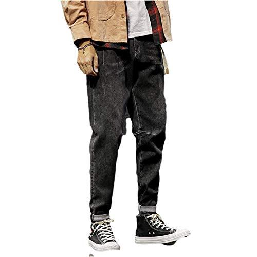 Jubaton Pantalones Vaqueros de Cintura Media de Primavera y otoño para Hombre, Moda Juvenil, Tendencia elástica, Holgados, Informales, cómodos, Pantalones Harem, con Bolsillo 29