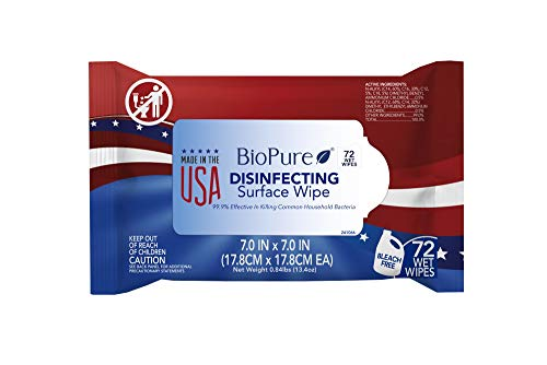 BioPure Made in The USA Sanitizing Disinfectant Cleaning Wipes EPA Approved 72 ct | Bleach-Free Non-Abrasive Multi-Surface Wipes | Kills 99.9% of Common Household Bacteria - 1 Pack