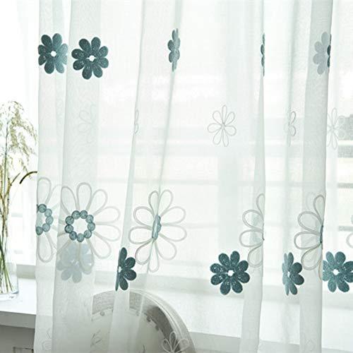 Gordijnen transparant venster modern wit dikker deurgordijn half doorzichtig gordijnen voor privacy beschermende behandeling borduursel blauw blauw 1 gordijn (300 x 270 cm)