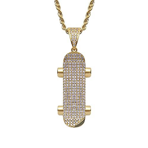 OONYGB Collar Hiphop, Collar con Colgante De Monopatín Helado 18K Chapado En Oro Bling CZ Collar De Cadena De Rapero Hip Hop con Diamantes Simulados para Hombres Y Mujeres.
