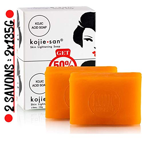 Kojie San - 2 Savons Éclaircissant de 135g, Authentique et Original Kojie San Soap à l'Acide Kojique (2 Savons : 2x135g)