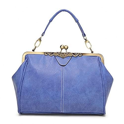 Dakecy Bolsos para Damas, Bandolera de Hombro de diseñador Ajustable, Bandolera de Cuero de PU, Bolsos de Mano para Mujer, Bolsos de Hombro para Mujer, Trabajo (Color : Blue, Size : L)