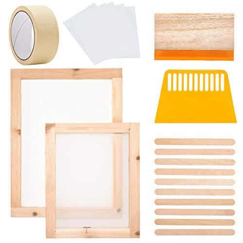 Jroyseter Siebdruck Rahmen Set, 20 Stück Holz Siebdruckrahmen Wasserdichter Transparenter Folienschutz Druck Starter Tool Kit