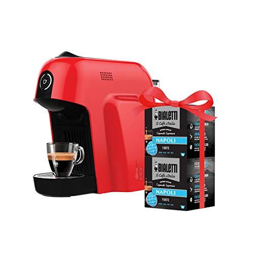 Bialetti Macchina Caffè Espresso Smart per Capsule in Alluminio sistema Bialetti il Caffè d'Italia, Red + 32 CAPSULE OMAGGIO