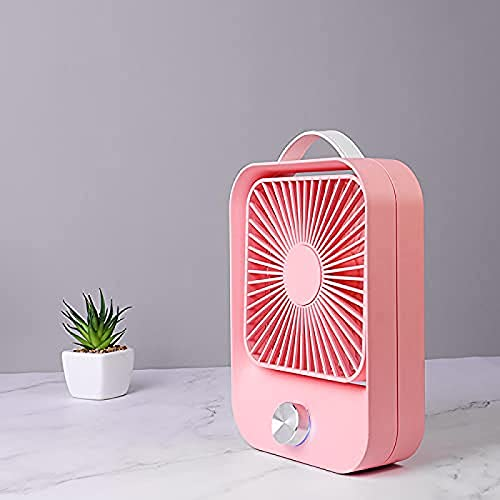 WUTAOJP Best Fans for Cooling Room Fans for Bedroom Cooling Small Table Fan Ultra Quiet Rechargeable 2400mAh Desk Fan Mini Personal Fan Portable Cooling Fan Mini air Conditioner Fan for Bedroom Pink