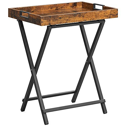 VASAGLE TV Tray Table, Folding Table, Side Table with Removable Serving Tray, Industrial, Rustic Brown and Black ULET252B01