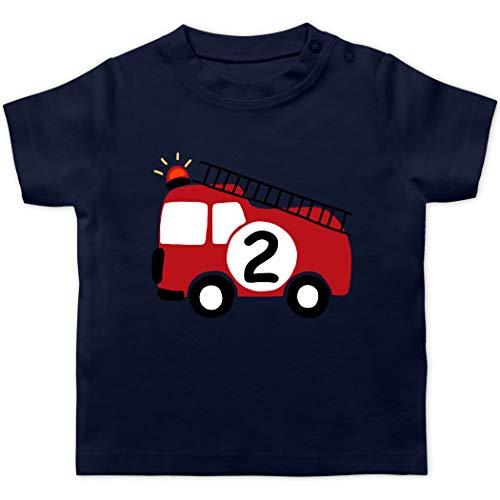 Baby Geburtstag Geburtstagsgeschenk - Feuerwehr Geburtstag 2-18/24 Monate - Navy Blau - Feuerwehr Kinder Shirt - BZ02 - Baby T-Shirt Kurzarm