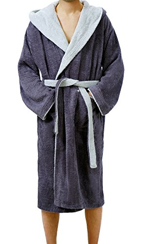 Lashuma Bademantel Lucca Saunamantel mit Kapuze für Damen & Herren wahlweise in 4 Größen, Farbe: Dunkel Grau - Licht Grau Größe: S