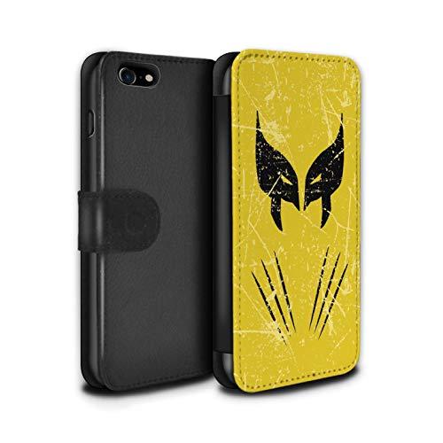 Stuff4 PU Pelle Custodia/Cover/Caso/Portafoglio per Apple iPhone 7 / Wolverine Ispirato/Arte Anti Eroe Disegno