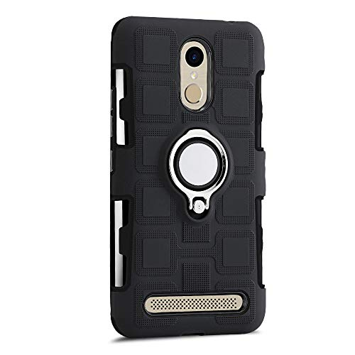 Sunrive Für ZTE Blade A602 Hülle Silikon, 360°drehbarer Ständer Ring Fingerhalter Fingerhalterung Handyhülle matt Schutzhülle Etui Case (11 Schwarz)+Gratis Universal Eingabestift