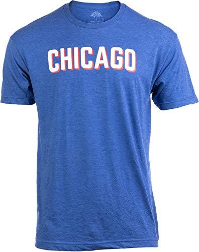 Chicago   Classic Retro City Illinois IL Lake Michigan Midwest Pride Men Women T-Shirt-(Blue,M)