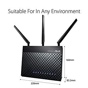 ASUS RT-AC68U AiMesh (2 pack) AC1900 Whole Home Dual-band AiMesh Mesh Wifi System, AiProtection Lifetime Security by Trend Micro, Adaptive QoS, Parental Control