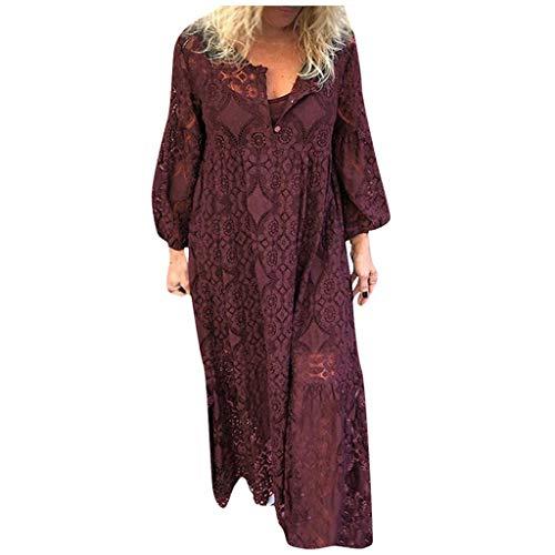 Floweworld Damen Langarm Maxi Kleider Mode V-Ausschnitt Knopf Spitze Spleißen Aushöhlen Party Kleider Plus Size Lange Kleider